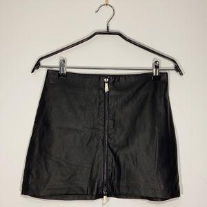 NWOT Faux Leather Zip Mini Skirt